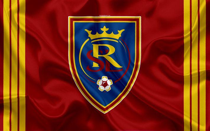 Download wallpapers Real Salt Lake FC, American Football Club, MLS, Major League Soccer, emblem, logo, silk flag, Salt Lake City, USA, football