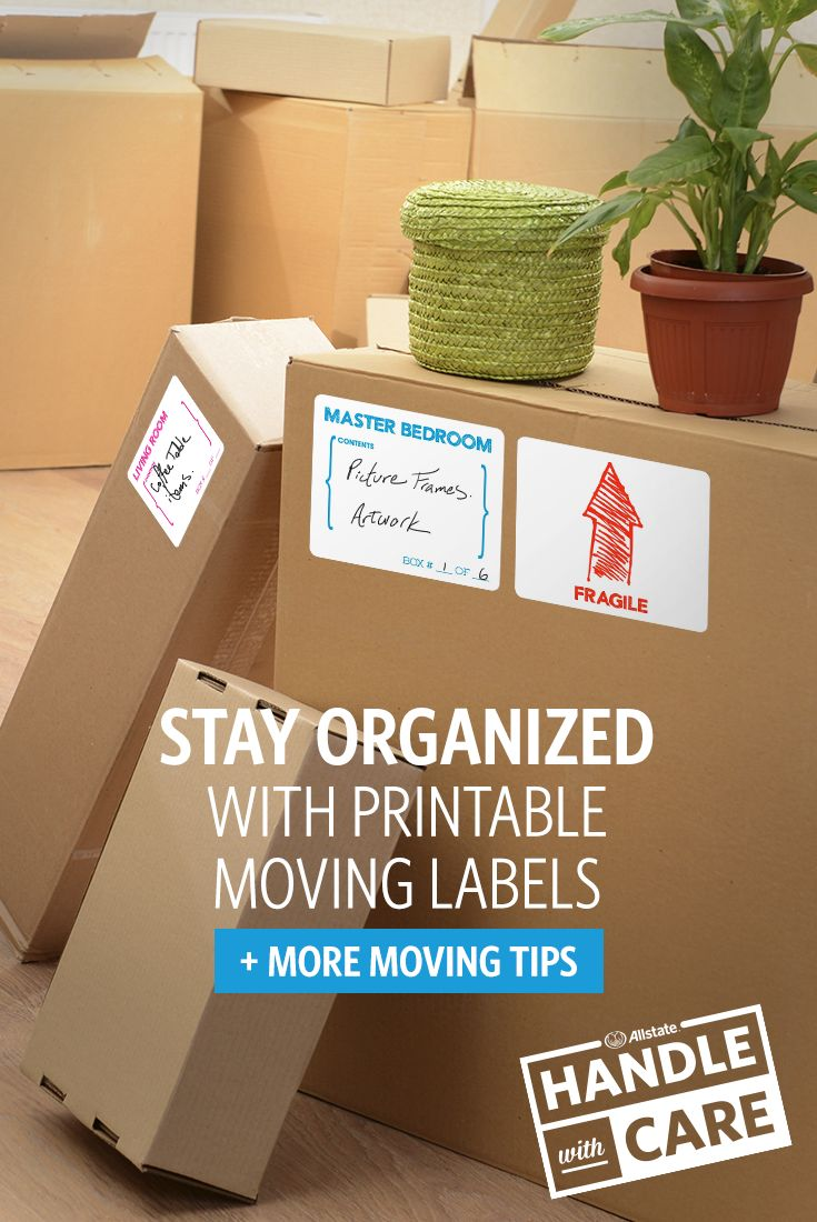 For an easy way to organize your moving boxes, use labels that clearly mark where each box should go. You can download these free printable labels here to help make your move a little simpler.