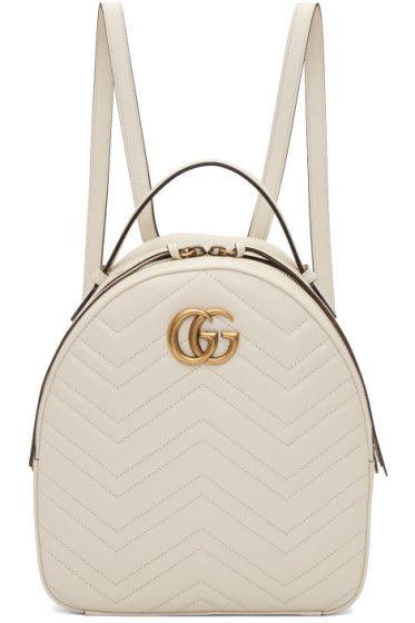White GG Marmont Backpack  9aef4adb636b1