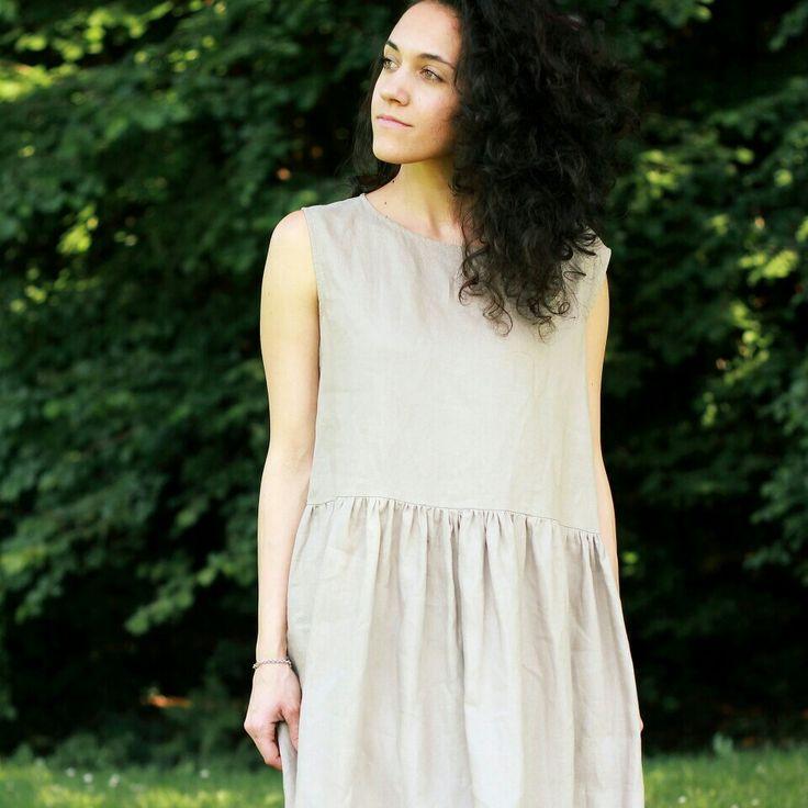 Ciao!! Questo è un abito in lino, a vita bassa e arricciato❤https://www.etsy.com/it/shop/JOYTREND?ref=pr_shop_more
