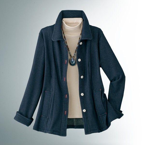 デニム調の色の出方がカジュアルな中にもきちんと感のあるジャケットです。カットソーなのでストレッチ性も抜群。[M]バスト100(79〜87)、着丈65、肩巾39、袖丈60[L]バスト104(86〜94)、着丈66、肩巾40、袖丈60[LL]バスト108(93〜101)、着丈67、肩巾42、袖丈60■ポリエステル85%,綿12%,ポリウレタン3%◆袖口スリット,ポケット付,裏地なし●中国製※タンブラー乾燥はお避け下さい。※インナー・アクセサリーは参考商品です。※カフスを折り返したスタイルです。※手洗いOK40代 50代 60代 レディース 女性 ファッション シニア お母さん 誕生日ギフト・プレゼントにオススメ