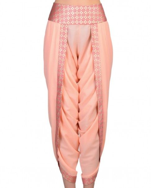 Peach Dhoti Pants - Pink Ribbon - Boutique