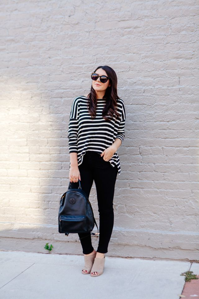 Stripes and black skinny jeans on Kendi Everyday.