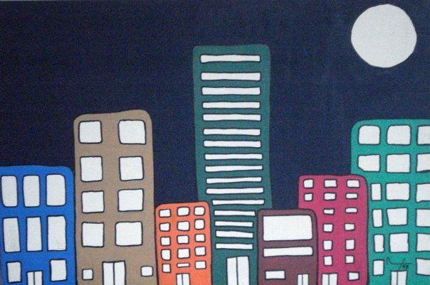 """""""City at Night"""" Marker and Acrylic on Canvas 24in x 36in 1998 #MalikAlex"""