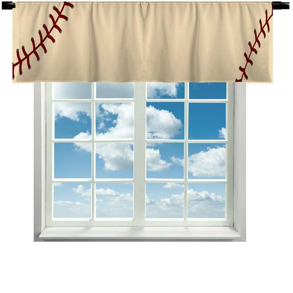 Custom Window Curtain, Stitched Baseball Effect - Any Size - Any Colors Option Colors: Natural/Red , Vintage Beige/Dk Red Crafted by Dezine Shop ** PLEASE, do not copy my graphics ** CANNOT add licens