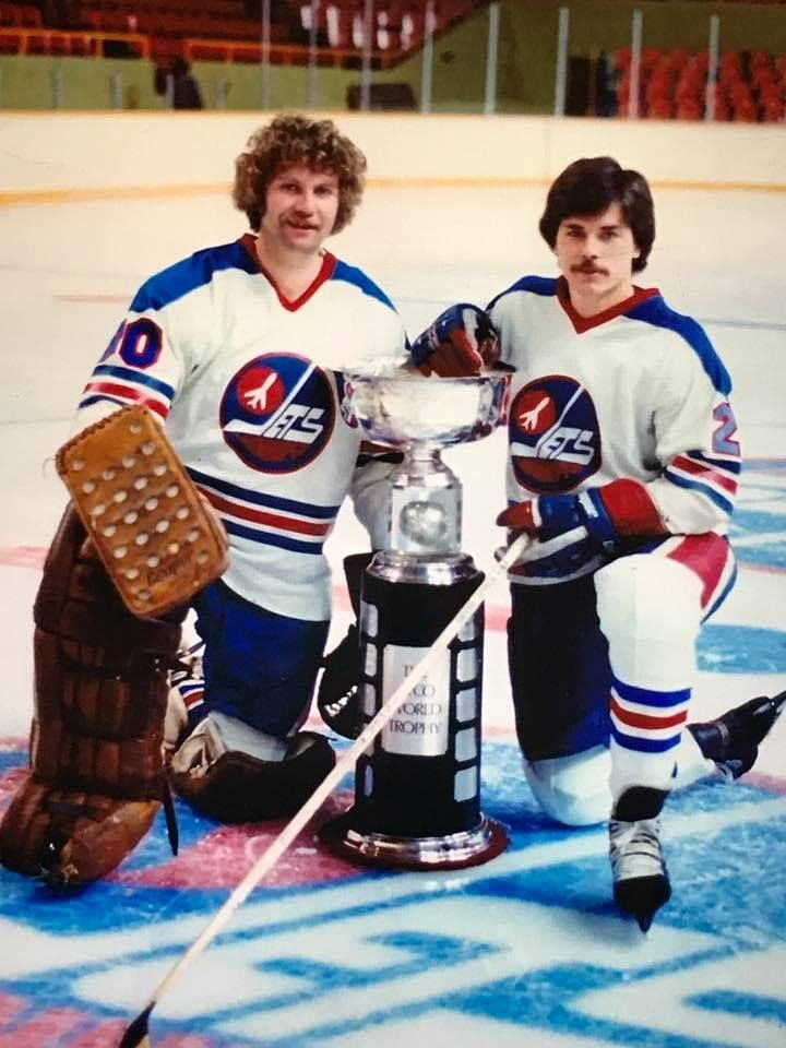 "Gary ""Suitcase"" Smith and Rich Preston, Winnipeg Jets, Avco Cups Champions."