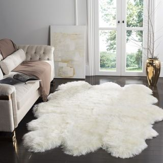 Safavieh Prairie Natural Pelt Sheepskin Wool White Shag Rug (3u0027 X 5u0027) By  Safavieh