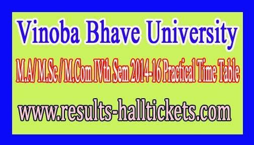 Vinoba Bhave University M.A/ M.Sc / M.Com IVth Sem 2014-16 Practical Time Table     Vinoba Bhave University M.A/ M.Sc / M.Com IVth Sem 201...