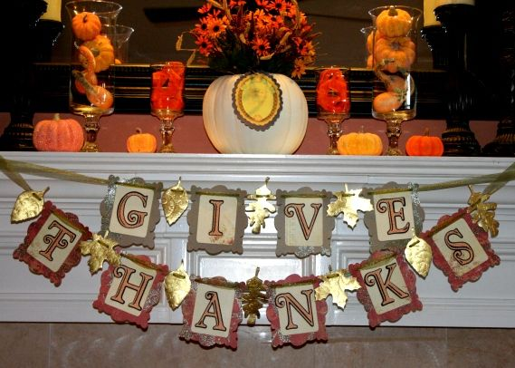 Cricut Thankgiving banner using several cartridges. Up close foil embossing photos and banner tutorial.