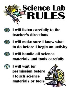 A grade level sign for Kinder through Fourth and a List of general Science Lab Rules. Great for labeling and organizing cabinets or shelves contain...