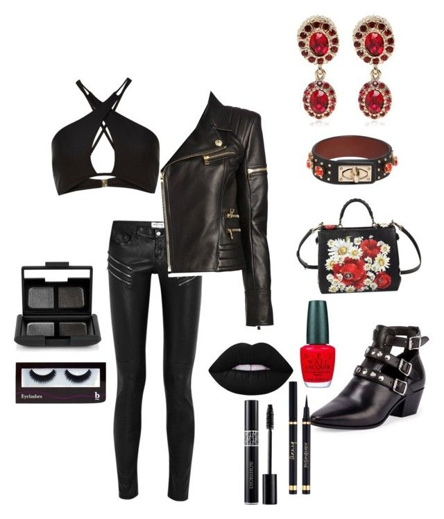 """Untitled #31"" by evelin-pap on Polyvore featuring Givenchy, Yves Saint Laurent, Balmain, Dolce&Gabbana, Lime Crime, OPI, Christian Dior, BBrowBar, NARS Cosmetics and women's clothing"