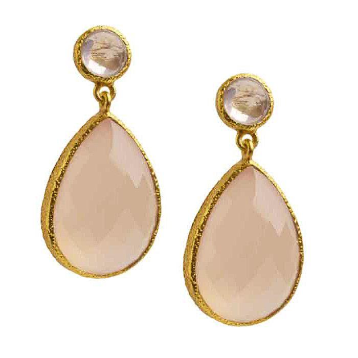 Vasant Designs Rose Quartz and Pink Chalcedony 24k Gold Vermeil