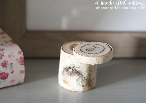 How to Make a Rustic Box out of a birch branch! FREE Design available to download. {ahandcraftedwedding.com}