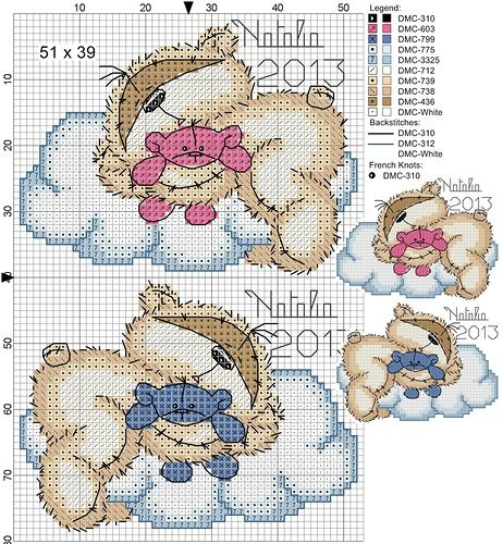 Little sleeping baby bears....so sweet...on clouds...a baby girl and a baby boy for your choice...FREE chart, no finished photo