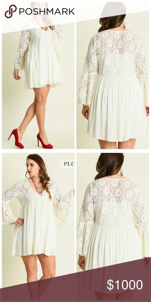"Crème de la Crème Dress!! PRICE FIRM Model is 6'0"" and wearing an XL. V-neck peasant dress with lace sleeves. Cotton Blend Dresses"