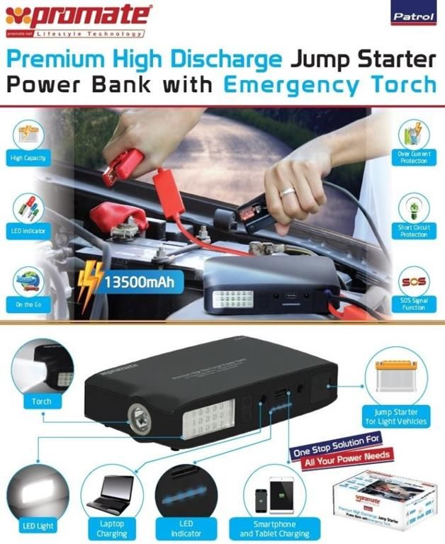 http://www.satelectronics.co.za/ProductDescription.aspx?id=3563753. Promate Patrol 13500mAh Premium High Discharge Jump Starter Power Bank with Emergency Torch. Price: R 1 479.00