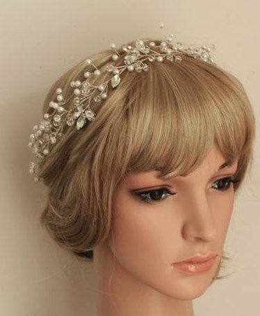 Hand wired Bridal Wedding Crystal Crown Flower by BewitchingLace, £35.00