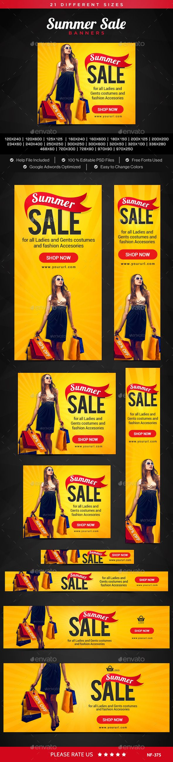 Summer Sale Banners Design Template #ads #banners Download: http://graphicriver.net/item/summer-sale-banners/11456080?ref=ksioks