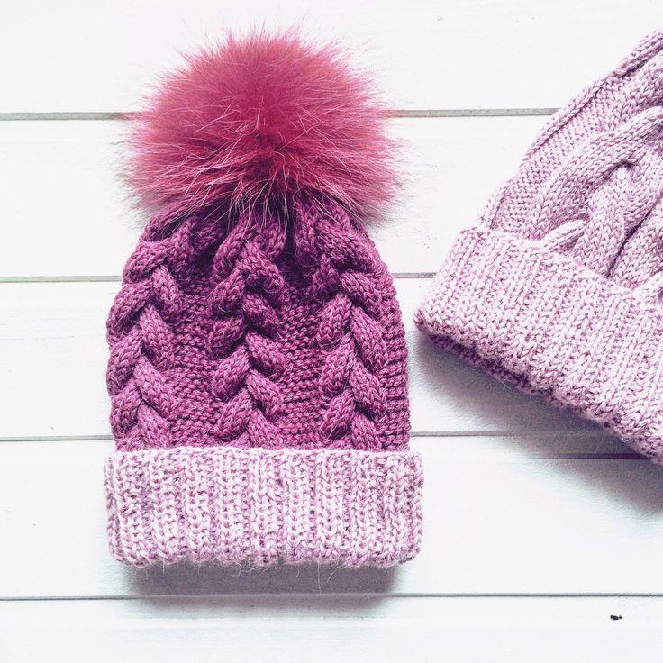 Купить Вязаная шапка на зиму - шапка, шапка вязаная, шапочка для девочки, шапка с помпоном