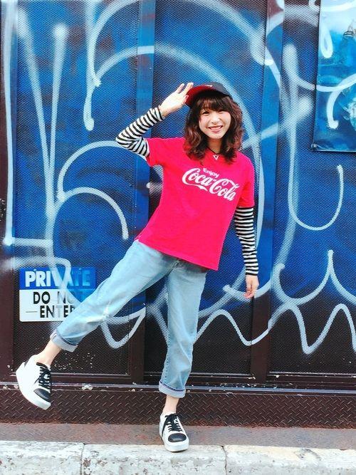 コカ・コーラコーデしました😊 このTシャツはGUで買いました✨ インスタminastagram37