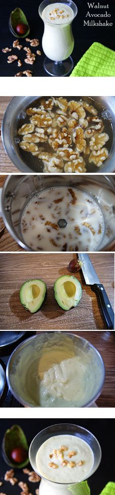 """""""Walnut Avocado Milkshake"""", a healthy summer drink. With a slight flavor of both the walnuts and avocados, the shake is very delicious and naturally creamy."""