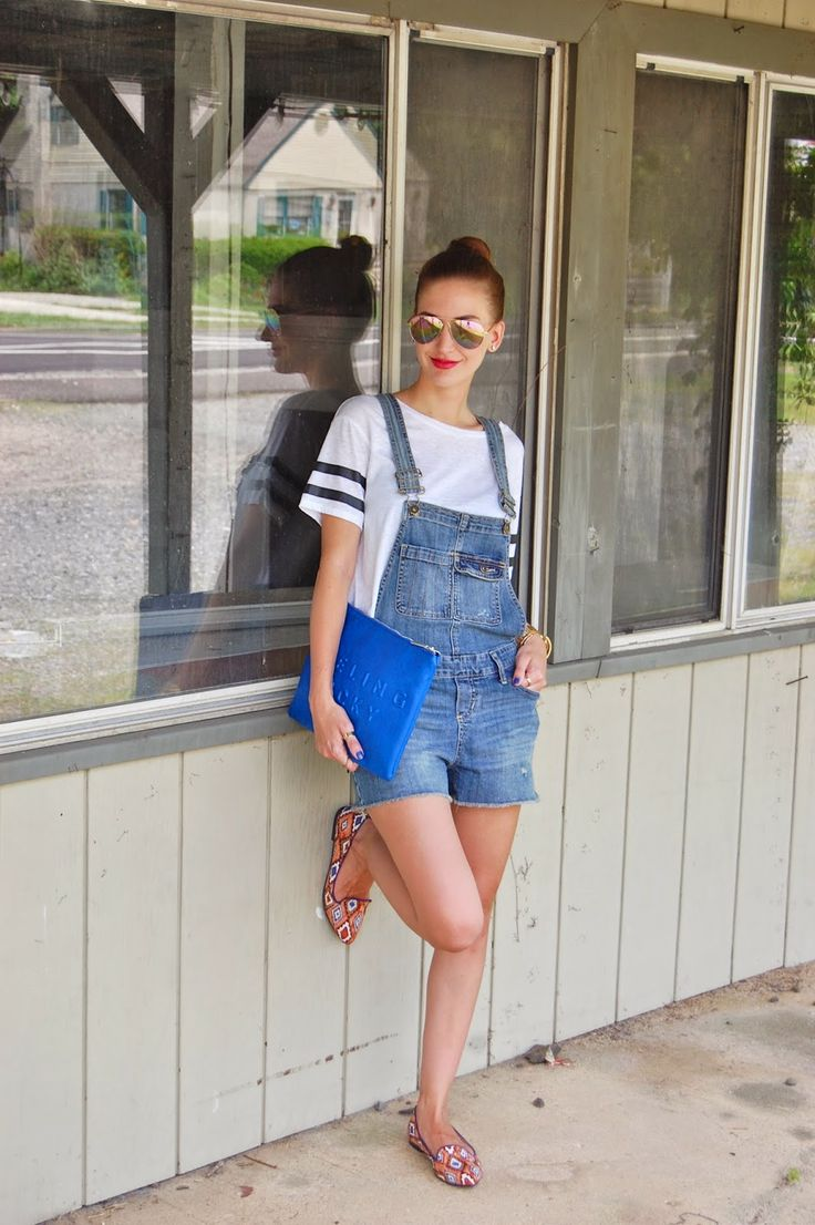 Wearing Target Mossimo Supply Co Short Overalls, Denim Short Overalls, American Eagle Varsity Style Crop Top , Forever 21 Tribal printed loafers