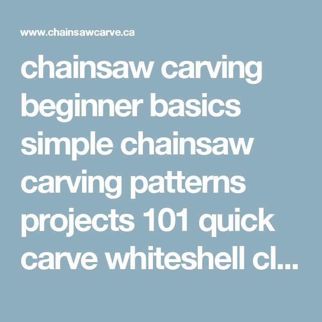 Chainsaw carving beginner basics simple