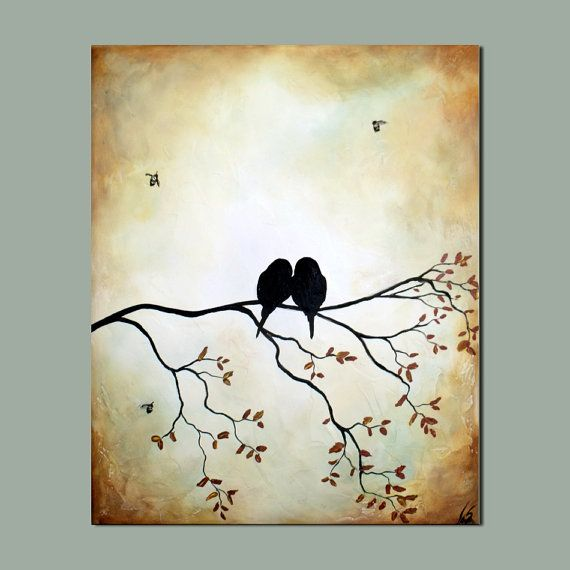 birds and bee's paintings | Romantic Birds and Bees Painting On Sale by ContemporaryEarthArt
