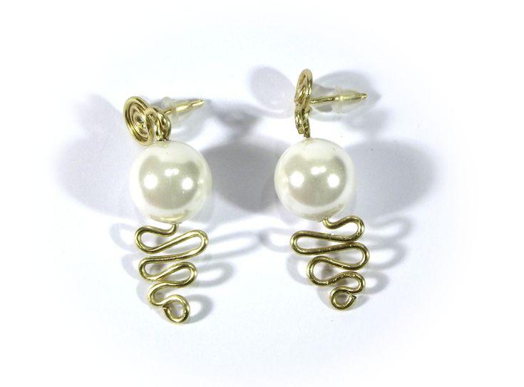 Earrings white beads wire wrapping from betulek by DaWanda.com  #earrings   #kolczyki   #jewelry   #jewellery   #gift   #beauty   #fashion   #style   #instagood   #quality #trendy #handmade   #handmadejewelry   #buyhandmade   #earings   #betulek   #bybetulek   #jewel   #look