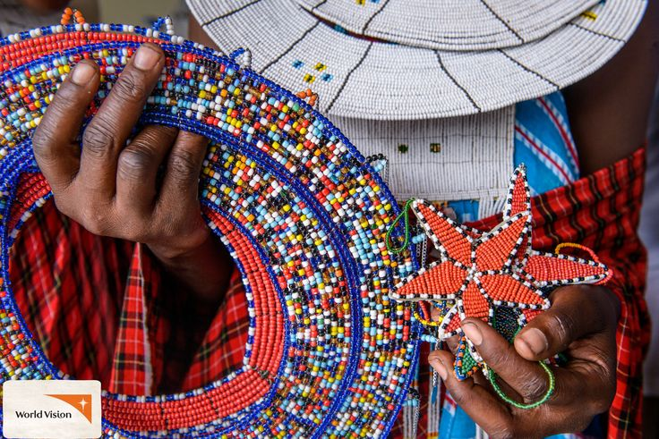 In #Tanzania, #WorldVision provided support and training for this group of #Maasai women so they could turn their talent for #beading #crafts into a small business. Photo by Jon Warren, World Vision