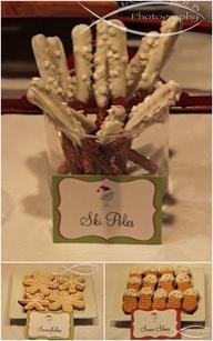 ski poles, winter party snack food ideas