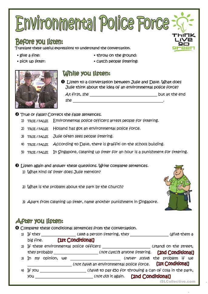 Environmental Police Force Police Force Environment Vocabulary Worksheets