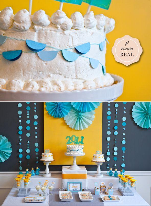 decoracao de festa infantil azul e amarelo:festa, aniversário, azul e amarelo, menino. fonte: google