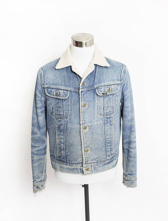 Vintage LEE Storm Rider Denim Jacket  Sherpa Lined Jean