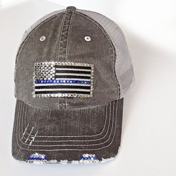 $41 - 20% of all sales (PAST and present) will be going to www.sonsoftheflag.org - an organization supporting injured Police and Fireman.  Click link  to Buy: https://www.etsy.com/listing/399084153/thin-blue-line-trucker-bling-cap-thin #thinbluelinebaseballcap #thinbluelinebling #thinbluelineforwomen