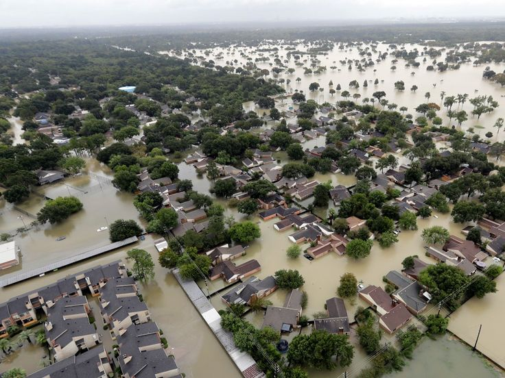 The storm submerged entire neighborhoods, like this area in Humble, Texas, next to Houston's George Bush Intercontinental Airport.