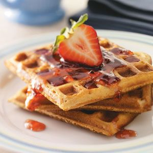 Peanut Butter & Jelly Waffles Recipe. Makes 10 waffles. 186 calories, 9g fat per waffle without jam when made with 2% lactaid milk.