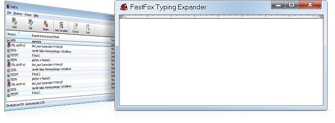 FastFox Text Expander Software-Instant Word Expansion, Keyboard Shortcuts & Macro Software. FastFox is a text expander software used to insert your most commonly used text quickly and easily. Expand phrases, paragraphs, documents, images, and more. Store frequently used text. Avoid typing things over and over. Improves typing speed and productivity. Text expander software is ideal for anyone who types the same text repeatedly, improving typing speed and productivity.