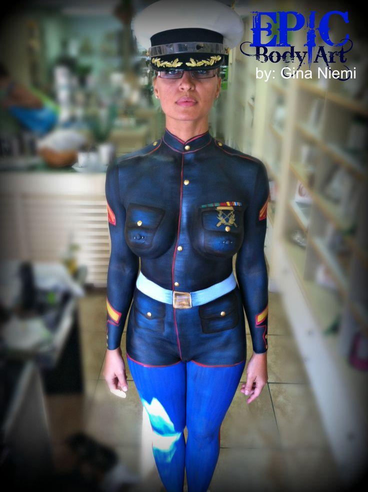 marine uniform body painting, fantasy fest, clothing body painting, amazing body art