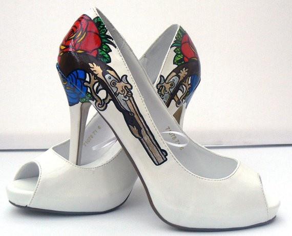 Guns n Roses wedding shoes rock n roll wedded bliss