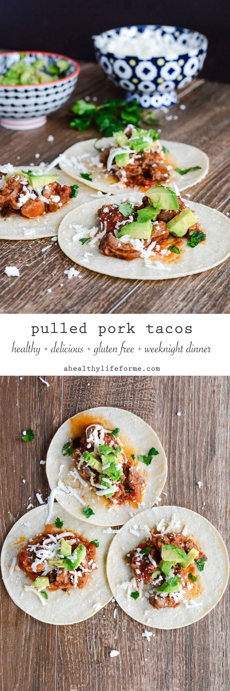Pulled Pork Tacos {gluten free} are loaded with tons of flavor are healthy and gluten free.  The perfect weeknight dinner. - A Healthy Life For Me