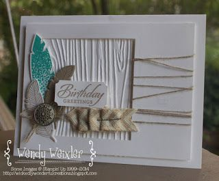 Stamps: Four Feathers, Wetlands Paper: Whisper White, Crumb Cake Ink: Bermuda Bay, Crumb Cake Accessories: Feathers Framelits Dies, Squares Framelits Dies, Natural Chevron Ribbon, Woodgrain Textured Impressions Embossing Folder, Ticket Due Punch, Antique Brad, Stapler, Linen Thread