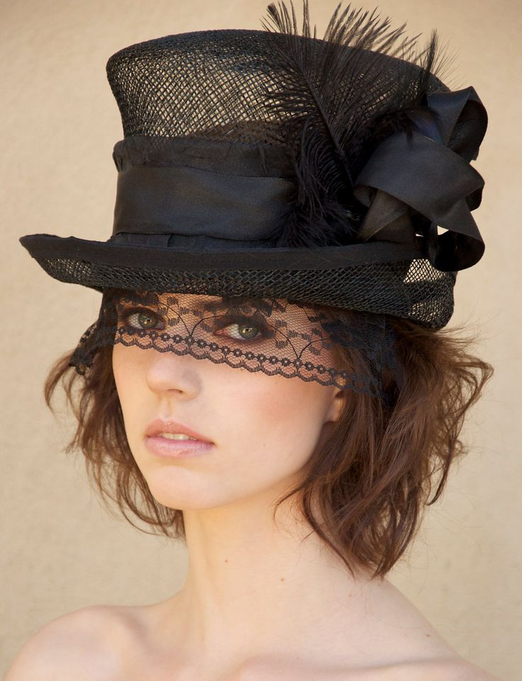 Bridal Black - back wedding hat; black wedding veil; black sinamay Victorian Riding Hat