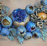 Купить или заказать Колье с камеей, цветами и бабочками в интернет-магазине на Ярмарке Мастеров. Колье с камеей, цветами и бабочками. Колье из полимерной глины на каучуковом шнуре. Подвеска-чешская стеклянная бусина. Длина шнура ок. 43 см.