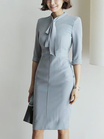Tie-neck Midi Dress Bodycon Work 3/4 Sleeve Solid Dress