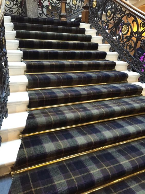 Tartan Staircase Carpet with Brass Rods