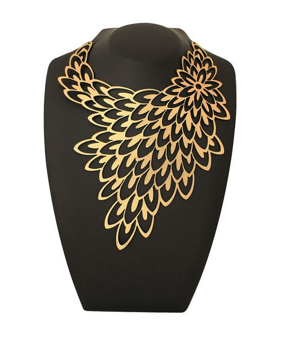 High fashion jewelry - Bridal jewelry - Peacock gold statement necklace - laser cut leather with a gold foil finish via Etsy