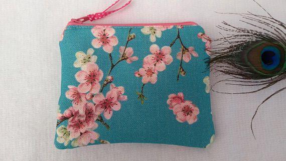 Handmade Coin Card Purse Pouch Wallet Pink Floral Flower