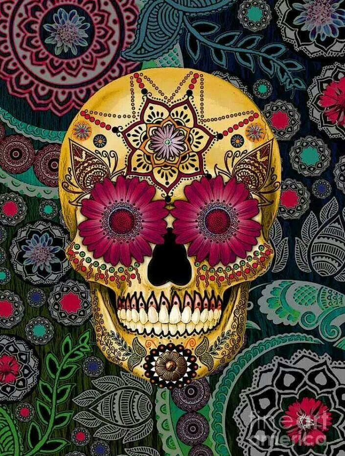 Sugar skull paisley garden day of the dead art small square tile