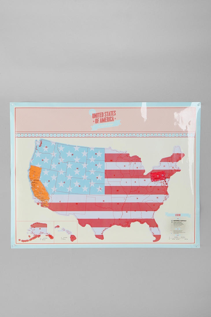 Scratch Off USA Travel Map Poster rack your